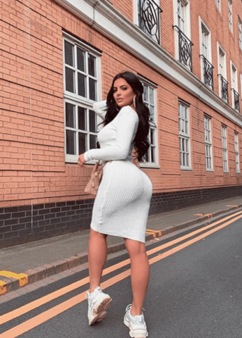 Victoria V Neck Long Sleeve Midi Dress