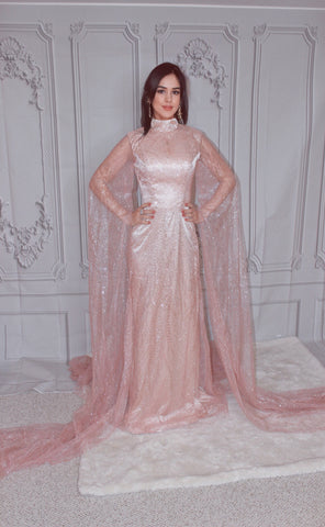 High Neck Long Sleeve Glitter Evening Dress
