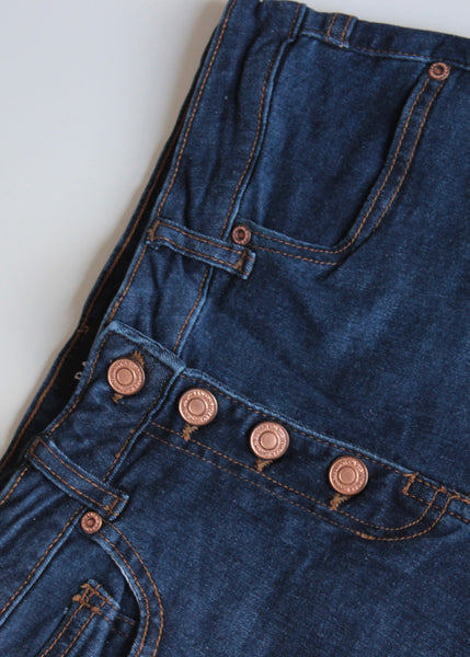 Jeanette Denim Dark Blue Button Up High Waisted Jeans