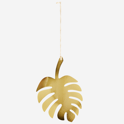 Iron Monstera Hanging Leaf - Gold