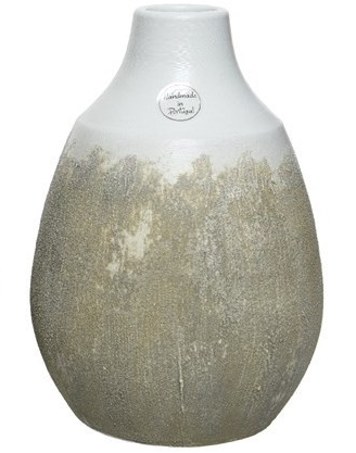 White/Stone Distressed Ombre Terracotta Vase - 28cm