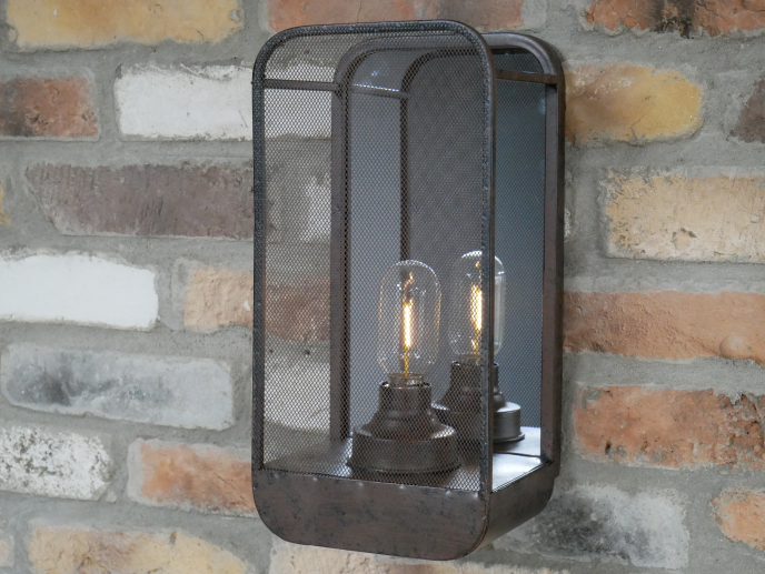 Industrial Wall Light With Mirror