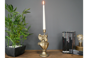 Gentry Elephant Bust Candlestick Holder - Gold