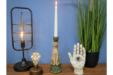 Tranquil Leopard Candle Stick Holder