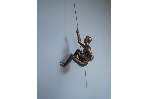 Large Bronze Abseiling Naked Man - Left or Right Design