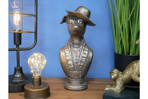 Bronze Dapper Dog Bust