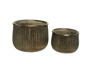 Bronze Ridged Stoneware Planters - Set of 2