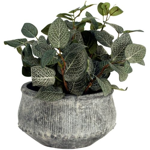Grey Wash Ribbed Planter - Ø12cm