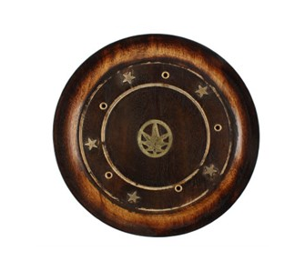Mango Wood Round Incense Holder - Brass Hemp