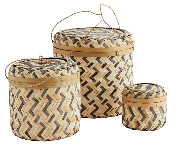 Set of 3 Bamboo Boxes with Lid - Grey