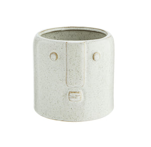 Cream Stoneware Face Planter - Ø9cm