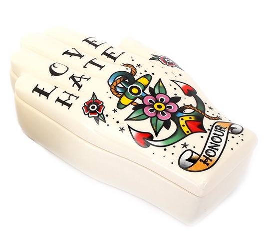 Old Skool Tattoo Hand Trinket Pot - Various Designs