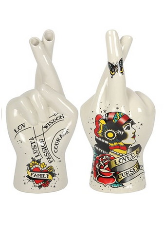 Tattoo Palmistry Hand Vase - Loved & Cursed