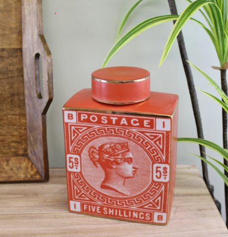 Red Postage Stamp Ginger Jar Vase - 2 Sizes