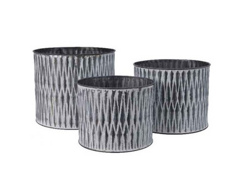 Zinc Aztec Print Planter - Set of 3