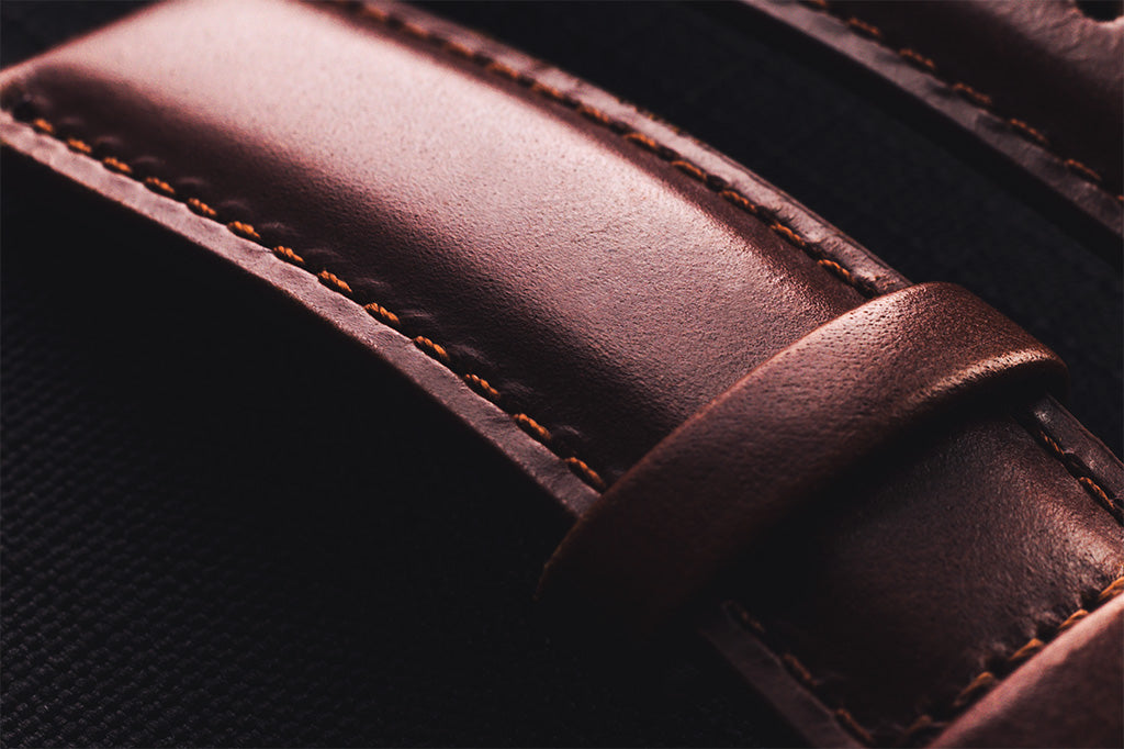 Brown full grain leather watch strap 21mm