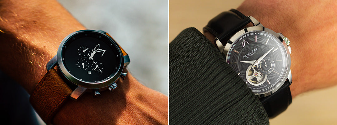 Side by side of Quartz and automatic watch