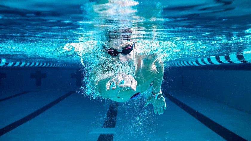 Swimmer with watch on