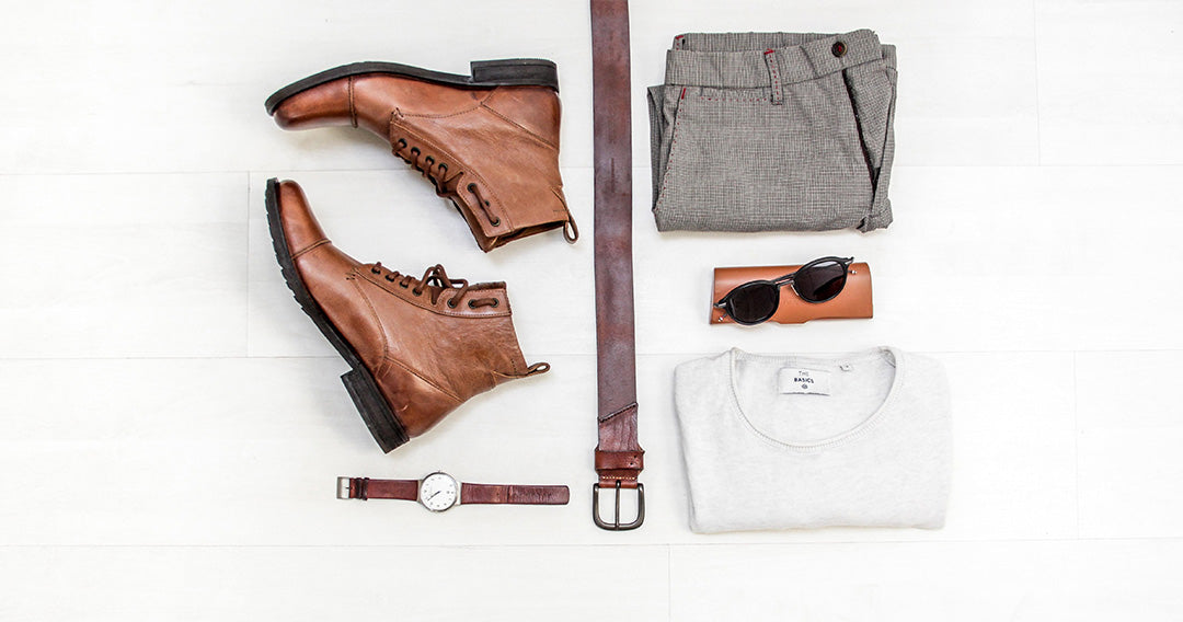 Coordinated outfit flat lay - Brown watch belt shoes