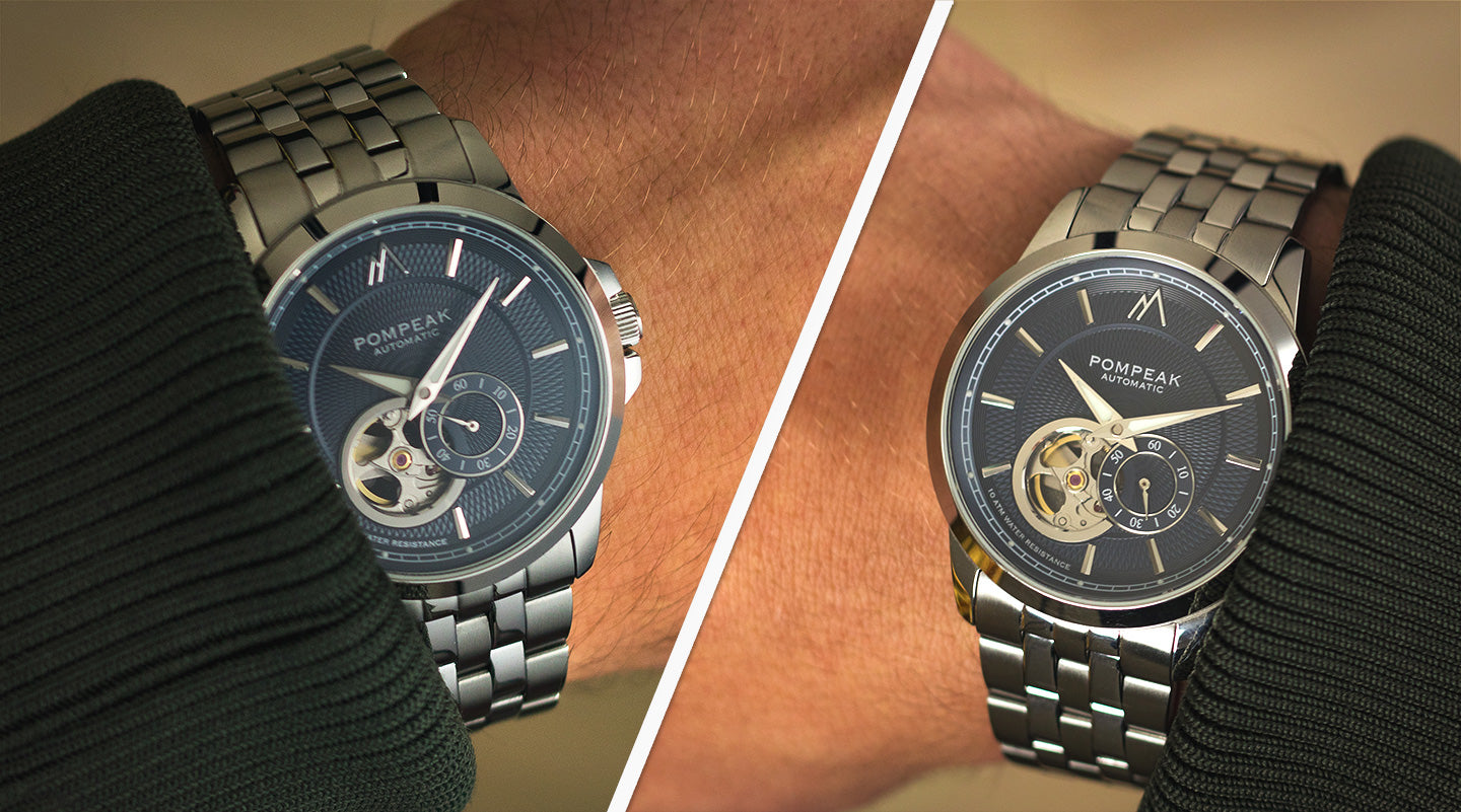 Left vs right handed wearing of the Pompeak Gentlemens Classic Navy automatic watch
