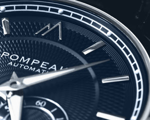 Pompeak automatic navy watch macro dial image.