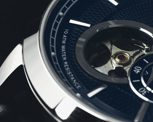 Pompeak automatic navy watch macro open heart