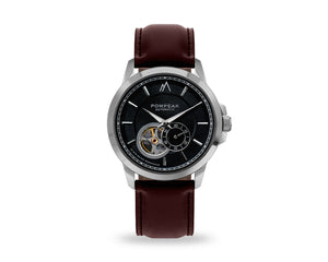 Pompeak automatic watch with full grain brown leather interchangeable strap.
