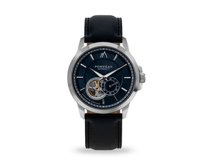 Pompeak automatic navy watch with full grain black interchangeable straps