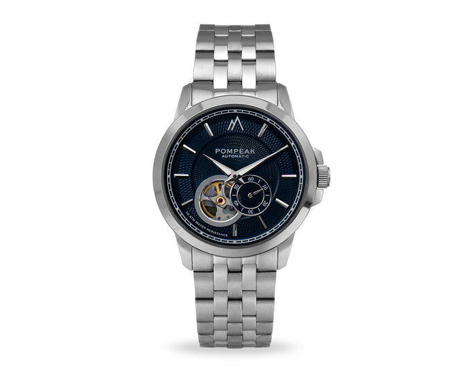 Pompeak automatic navy watch with 316L stainless steel bands and butterfly deployment clasp