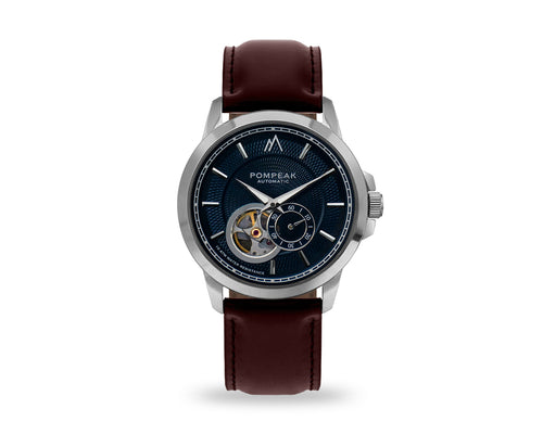 Pompeak automatic navy watch with full grain brown interchangeable straps