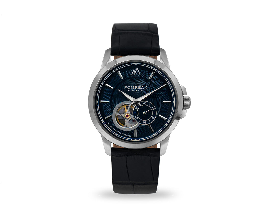 Pompeak automatic navy watch with full grain mock croc black interchangeable straps