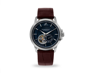 Pompeak automatic navy watch with full grain mock croc brown interchangeable straps