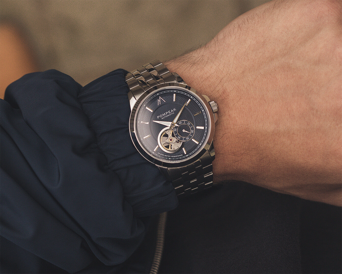 Pompeak Gentlemens Navy Automatic watch wrist shot image