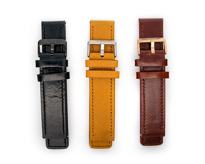 22mm Genuine leather interchangeable watch straps. Brown, Tan or Black