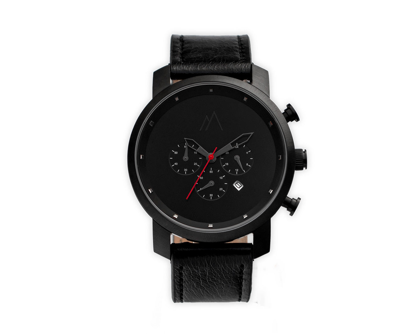 Quartz chronograph date watch black and red