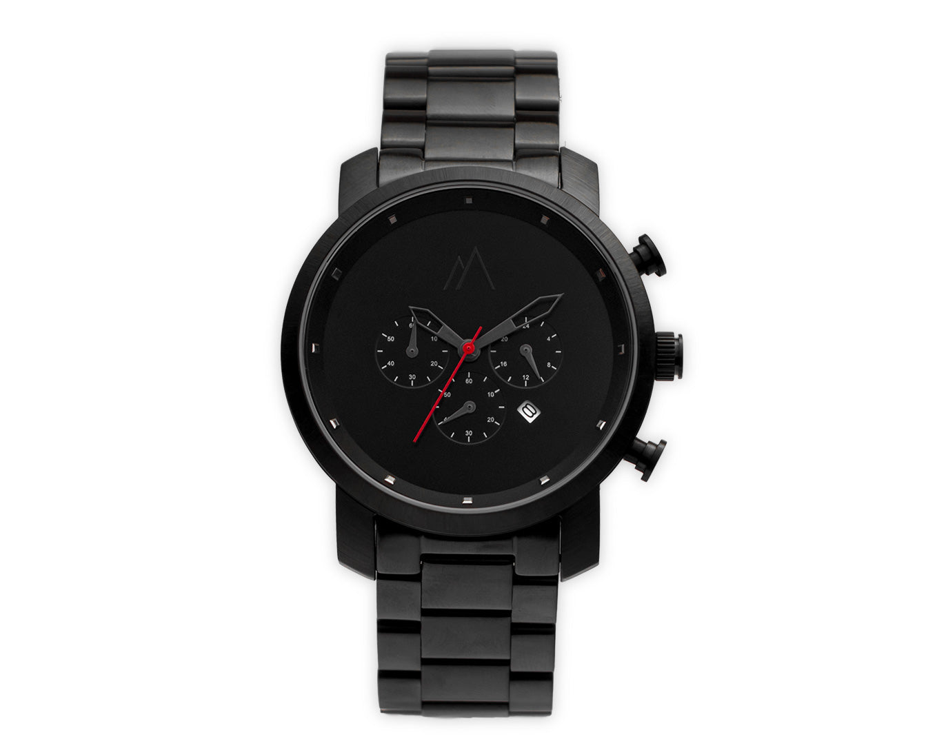 Quartz chronograph date watch metallic bands black and red