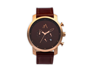 Quartz chronograph date watch metallic bands rose gold brown quick release leather