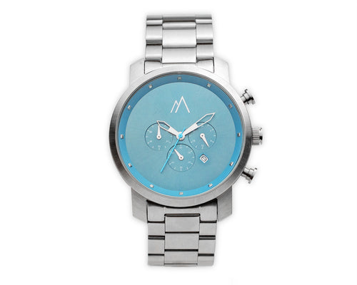 Quartz chronograph date watch metallic bands silver blue 45mm