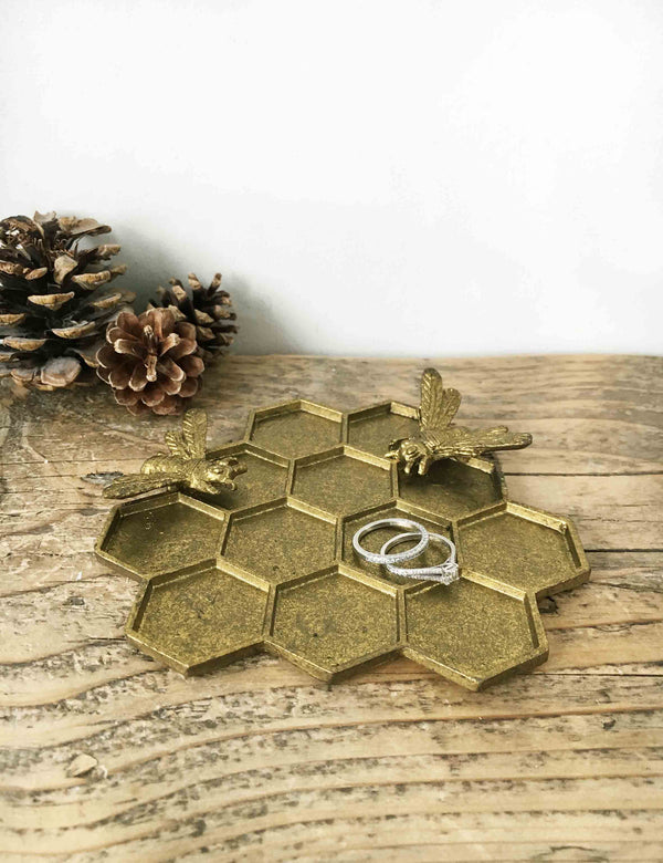Brass Bee Hive Jewellery Dish | The Den & Now
