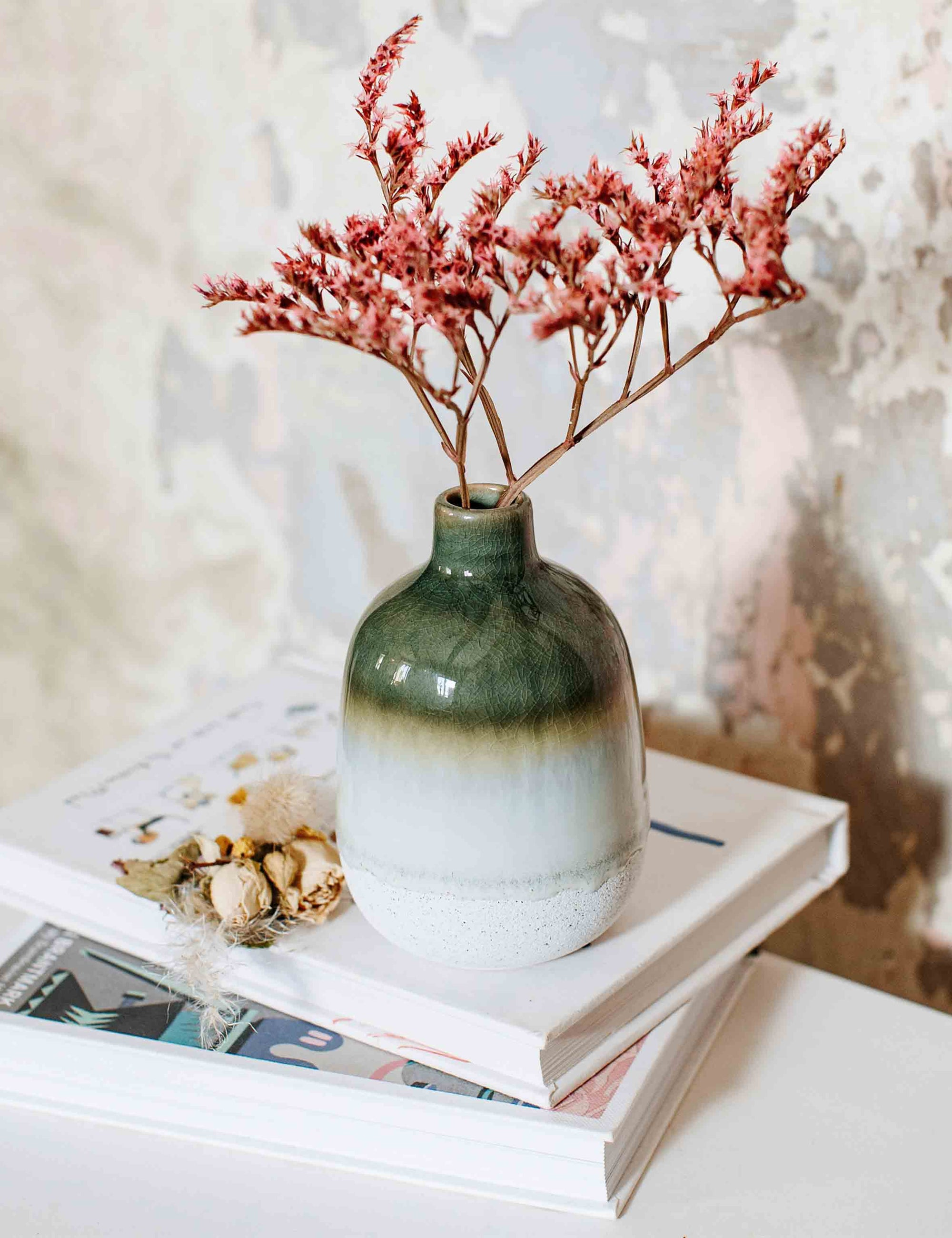 Green Stone Vase | The Den & Now