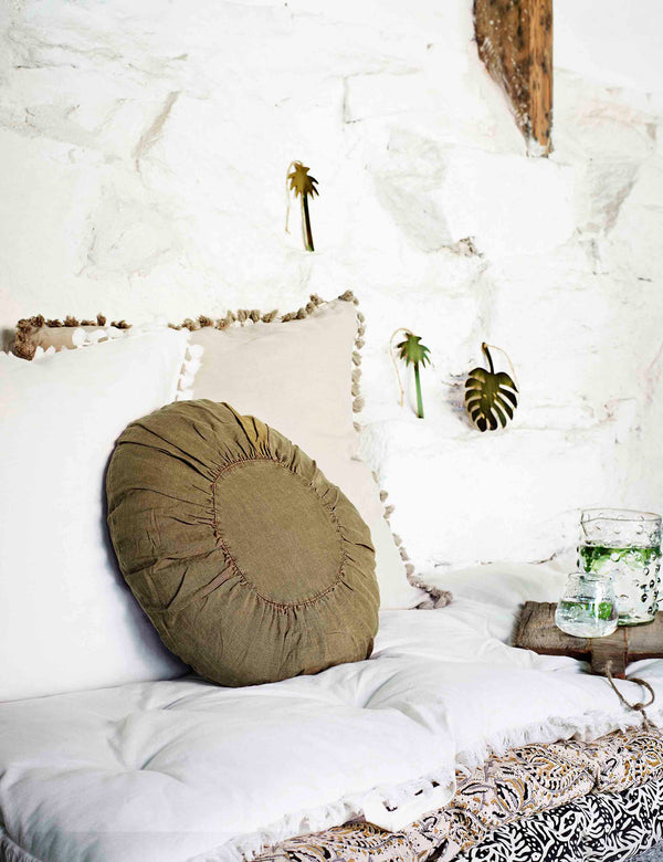 New Arrivals | Round Linen Khaki Cushion | The Den & Now
