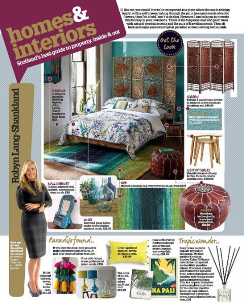 Recycled Glass Bottle Vase | Daily Record Scotland Saturday Magazine: Homes & Interiors |  Get The Look: Tropical Treats