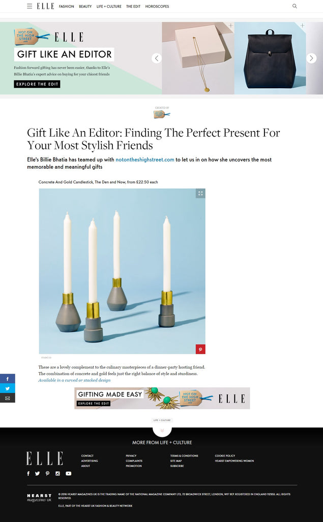 Concrete & Gold Candlesticks | The Den & Now | ELLE UK