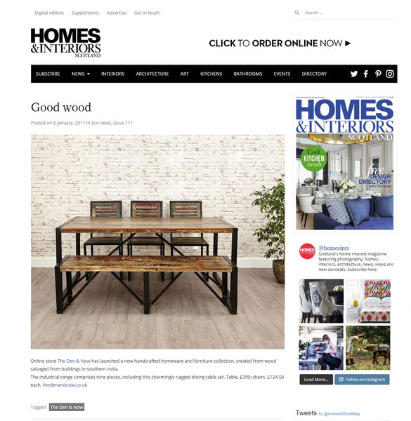 Industrial & Reclaimed Furniture & Homeware Collection | The Den & Now | Homes & Interiors Scotland | January/February 2017 | Online