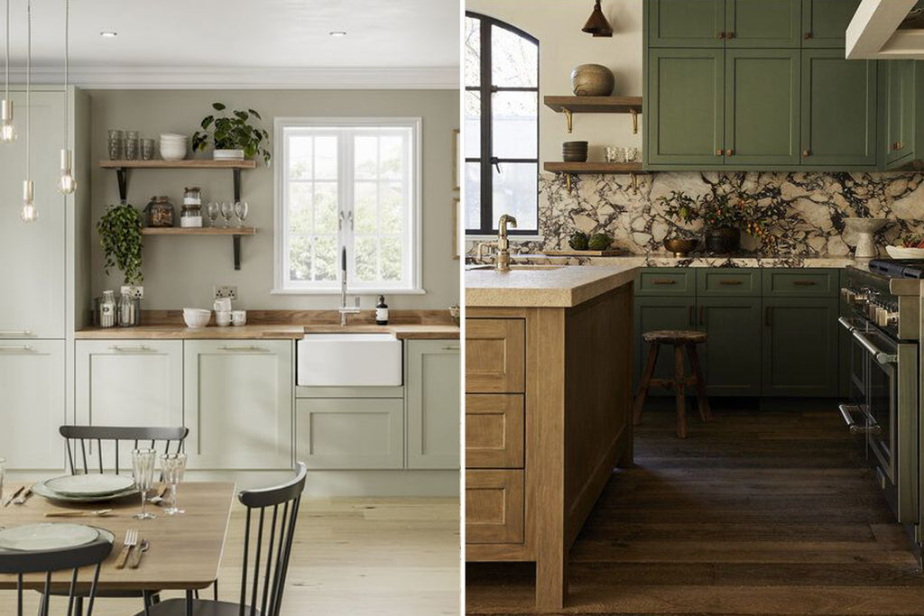Green Kitchens | Howdens & Trim Design Co | The Den & Now