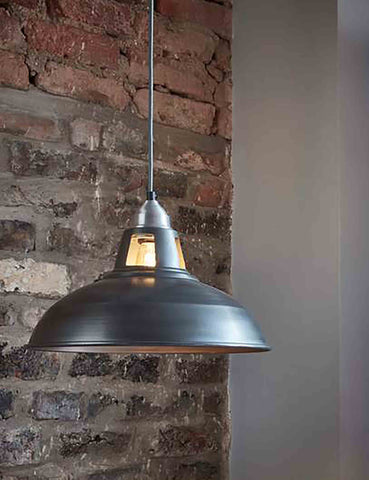 Industrial Vintage Old Factory Dark Pewter Pendant Light by Industville | The Den & Now