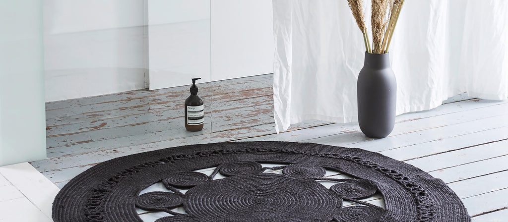 New Arrivals | Mandala Black Braided Round Rug | The Den & Now
