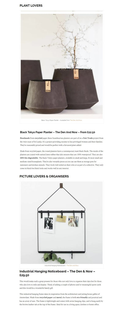 The Interior Editor | Eco-Friendly Gift Guide For Interior Lovers | The Den & Now