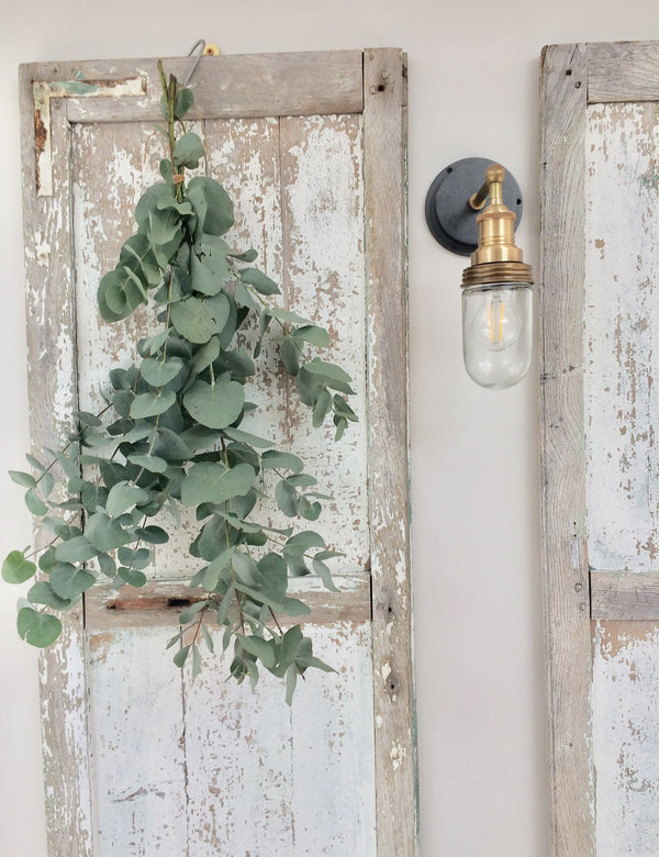 Industrial Brooklyn Outdoor & Bathroom Brass Wall Light by Industville