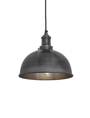 Industrial Brooklyn Small Dome Pewter Pendant Light by Industville - Pewter Holder